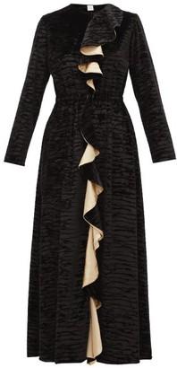 Loretta Caponi - Betty Ruffled Devore-velvet Midi Dress - Womens - Black Gold