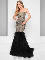 Terani Evening - Embellished Black Nude Mermaid Gown 1711GL3557