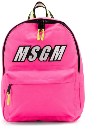 Msgm Kids Embroidered Logo Backpack