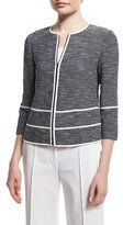 Lafayette 148 New York Aisha 3/4-Sleeve Zip-Front Tweed Jacket