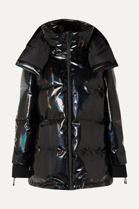 Fendi Hooded Appliqued Quilted Holographic Down Ski Jacket - Black