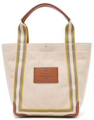 Anya Hindmarch Pont Small Leather-trimmed Canvas Tote Bag - Womens - White Multi