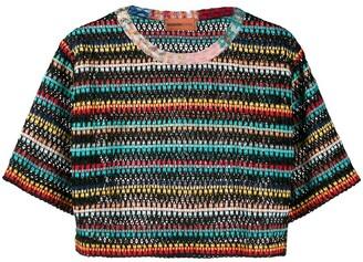 Missoni Mare striped-crochet cropped T-shirt
