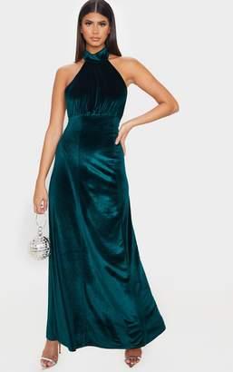PrettyLittleThing Emerald Green High Neck Halterneck Velvet Maxi Dress