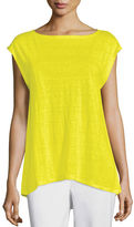 Eileen Fisher Cap-Sleeve Organic Linen Top