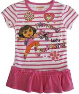 Nickelodeon Little Girls Stripe Dora The Explorer Print Ruffle Top