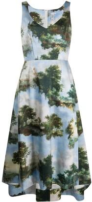 Comme des Garcons landscape print A-line dress