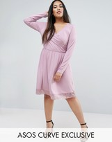 Asos Mini Wrap Skater Dress With Lace Hem