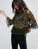 Asos Mesh Top With Velvet Applique & Sequins