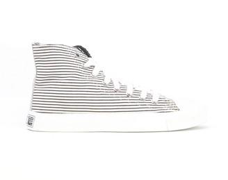 Ethletic White Black Stripes White Cup Hi Cut - 36 - White/Black