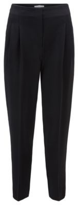 HUGO BOSS High Waisted Regular Fit Pants In Japanese Crinkle Crpe - Black