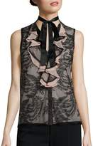 Nanette Lepore Women's All Or Nothing Lace Tie-Neck Blouse