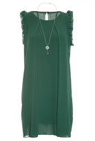 Quiz Green Frill Shoulder Necklace Tunic Dress