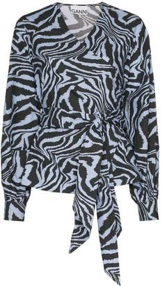 Ganni Tiger Print Tie-Waist Blouse