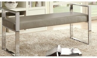 Orren Ellis Trung Faux Leather Bench Upholstery Color: Silver Champagne