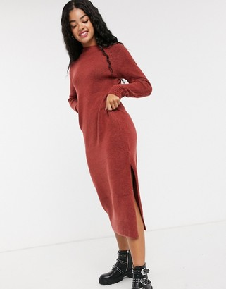 Pimkie crew neck knitted dress in red