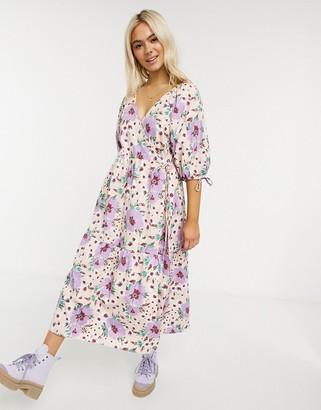 ASOS DESIGN cotton poplin smock wrap midi dress in bright floral print