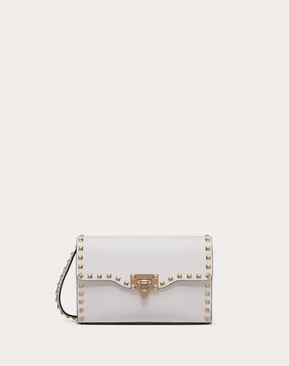 Valentino Small Rockstud Grainy Calfskin Crossbody Bag Women Optic White Calfskin 100% OneSize