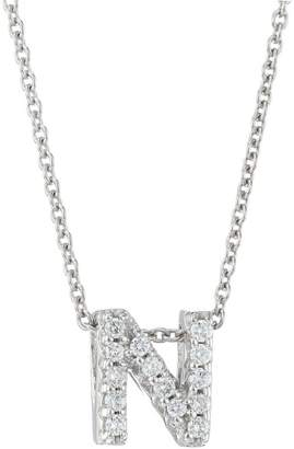 Roberto Coin Tiny Treasures 18K White Gold & Diamond Love Letter-N Necklace