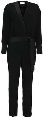 BA&SH Venise Wrap-effect Satin-trimmed Crepe Jumpsuit