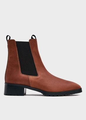 AEYDĒ Women's Karlo Boot in Cognac, Size 36 | Calf Leather