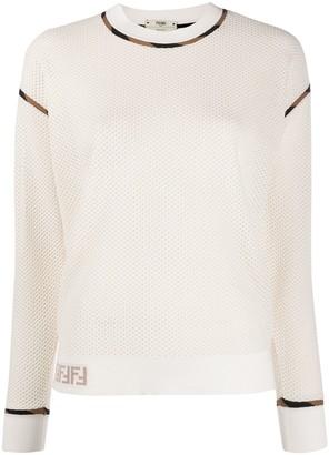 Fendi FF mesh knitted top