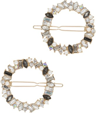 Ettika Set of 2 Crystal Ring Barrettes