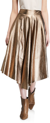 Brunello Cucinelli Metallic Leather Asymmetric Skirt