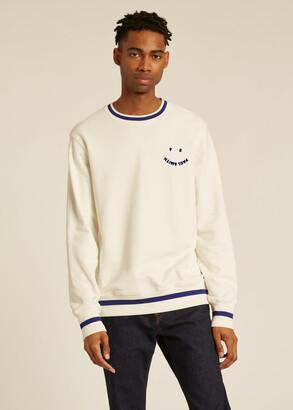 Paul Smith Men's White 'Happy' Cotton Sweatshirt