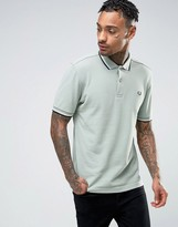 Fred Perry Slim Pique Polo Shirt Two Tone Tipped In Silver Blue