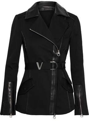 Versace Belted Leather-trimmed Cotton-blend Twill Biker Jacket