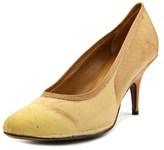 Isaac Mizrahi X-ray Mid Pump Women Pointed Toe Synthetic Tan Heels.
