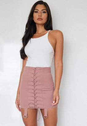 Missguided Blush Lace Up Strap Detail Mini Skirt