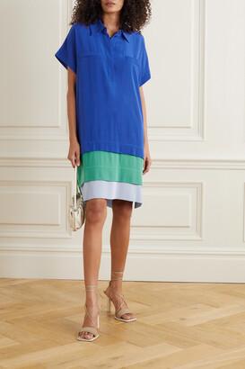 Diane von Furstenberg - Hatsu Tiered Color-block Silk Crepe De Chine Mini Shirt Dress - Blue