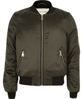 River Island Girls khaki satin bomber jacket