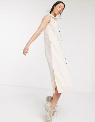 ASOS DESIGN soft denim sleeveless midi shirt dress in ecru
