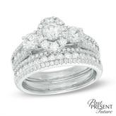 Zales 2 CT. T.W. Diamond Frame Past Present Future® Bridal Set in 14K White Gold