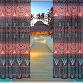 ALAZA Window Sheer Curtain Panels,Christmas Decoration Ancient Vintage Ethnic Aztec Tribal,Door Window Gauze Curtains Living Room Bedroom Kid Office Window Curtain 55x84inch Two Panels Set 17