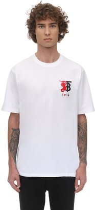Burberry Logo Embroidery Cotton Jersey T-shirt