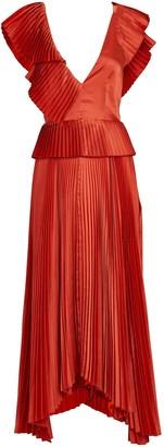 AMUR Liliana Pleated Flutter Midi Dress