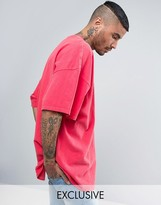 Reclaimed Vintage Inspired Super Oversized T-shirt In Overdye Pink