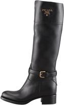 Prada Tall Logo Riding Boot, Black