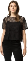 Tommy Hilfiger Lace Overlay Short Sleeve Blouse