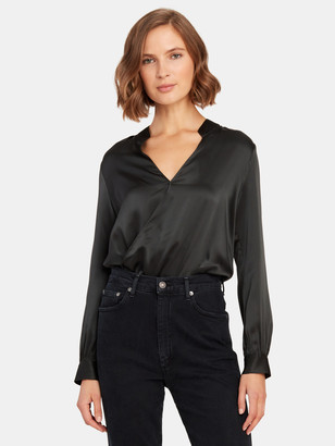 L'Agence Marcella Surplice Silk Bodysuit