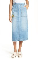 Rebecca Taylor Women's Embroidered Denim Midi Skirt