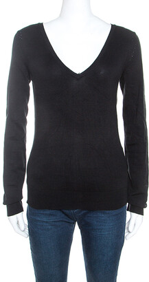 Joseph Black Silk Blend Knit Long Sleeve V-Neck Top M