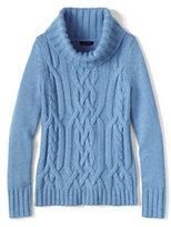 Classic Women's Merino Blend Cable Cowl Neck Sweater-True Navy