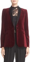 Alice + Olivia 'Macey' Satin Lapel Velvet One-Button Blazer