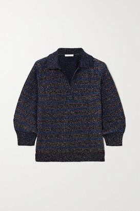 Chloé Wool-blend Lurex Polo Shirt - Navy
