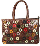 Latico Leathers Brown Leather Circle Applique Zipper Top Rectangular Tote Handbag